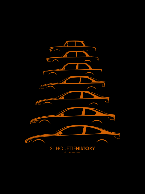 Automotive History With Silhouettes Of Iconic Cars